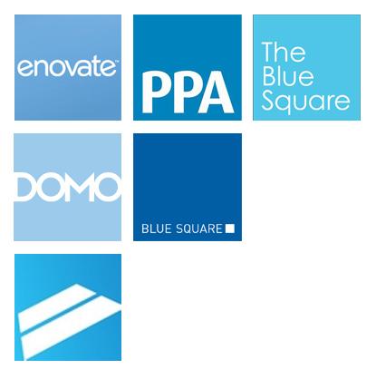 Blue rectangle logos